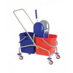 Roestvrijstalen mopwagen met pers en emmers