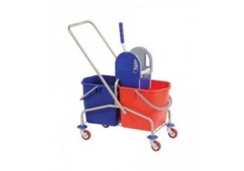 Huchem Roestvrijstalen mopwagen met pers en emmers