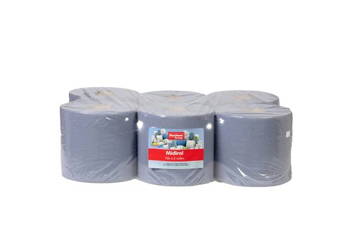 Huchem Blauwe Handdoekrol Midi - 6 stuks, 1 laags, 300m