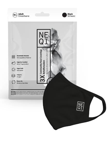 NEQI NEQI Stoffmasken Schwarz M-L