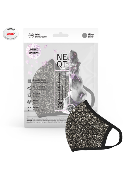 NEQI NEQI Stoffmasken X-Mas Silber S-M