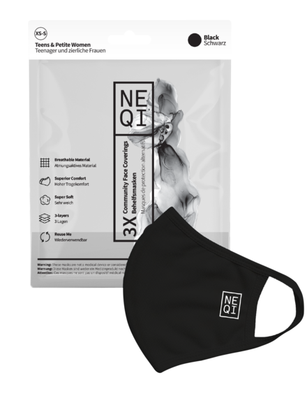 NEQI Stoffmasken 3x Schwarz Teens XS-S