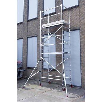 Euroscaffold Basic-line rolsteiger 6,2 meter werkhoogte, 250cm platform met extra vloer