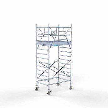 Euroscaffold Rolsteiger met dubbele voorloopleuning 135x190x5,2 meter werkhoogte