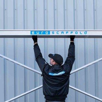Euroscaffold Rolsteiger met dubbele voorloopleuning 135x190x6,2 meter werkhoogte