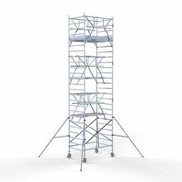 Euroscaffold Rolsteiger met dubbele voorloopleuning 135x190x8,2 meter werkhoogte