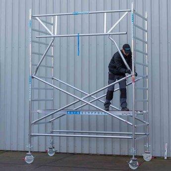 Euroscaffold Rolsteiger met dubbele voorloopleuning 135x250x5,2 meter werkhoogte