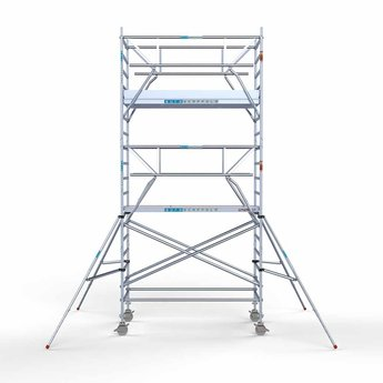 Euroscaffold Rolsteiger met dubbele voorloopleuning 135x250x6,2 meter werkhoogte
