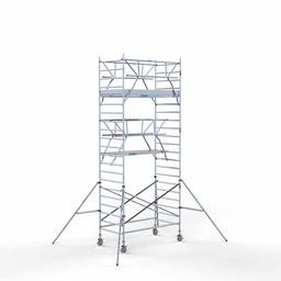 Euroscaffold Rolsteiger met dubbele voorloopleuning 135x250x7,2 meter werkhoogte