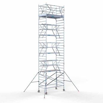 Euroscaffold Rolsteiger met dubbele voorloopleuning 135x250x10,2 meter werkhoogte