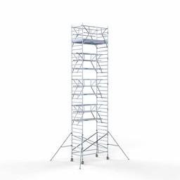Euroscaffold Rolsteiger met dubbele voorloopleuning 135x250x11,2 meter werkhoogte