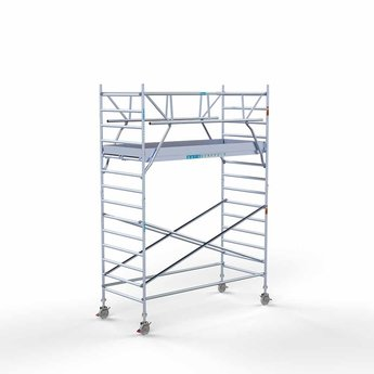 Euroscaffold Rolsteiger met dubbele voorloopleuning 135x305x5,2 meter werkhoogte