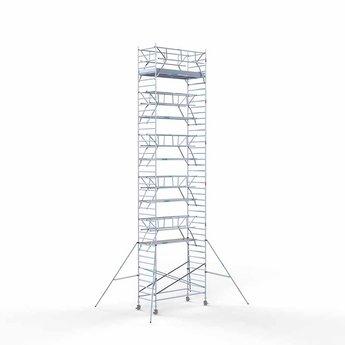 Euroscaffold Rolsteiger met dubbele voorloopleuning 135x305x13,2 meter werkhoogte