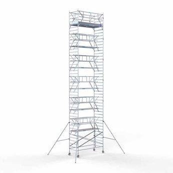 Euroscaffold Rolsteiger met dubbele voorloopleuning 135x305x14,2 meter werkhoogte