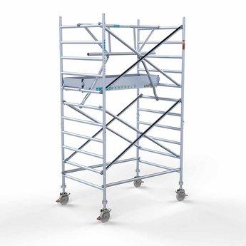 Euroscaffold Euroscaffold Rolsteiger met enkele voorloopleuning 135x190x4,2 meter werkhoogte