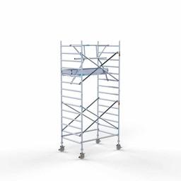Euroscaffold Rolsteiger met enkele voorloopleuning 135x190x5,2 meter werkhoogte