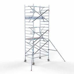 Euroscaffold Rolsteiger met enkele voorloopleuning 135x190x6,2 meter werkhoogte