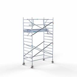 Euroscaffold Rolsteiger met enkele voorloopleuning 135x250x5,2 meter werkhoogte