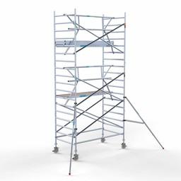 Euroscaffold Rolsteiger met enkele voorloopleuning 135x250x6,2 meter werkhoogte