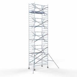 Euroscaffold Rolsteiger met enkele voorloopleuning 135x250x10,2 meter werkhoogte