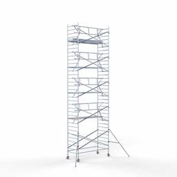 Euroscaffold Rolsteiger met enkele voorloopleuning 135x305x11,2 meter werkhoogte