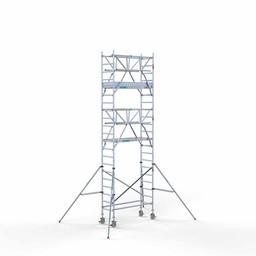 Euroscaffold Rolsteiger met dubbele voorloopleuning 75x190x7,2 meter werkhoogte
