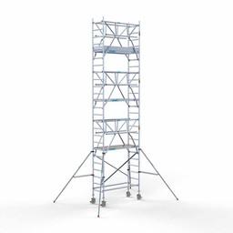 Euroscaffold Rolsteiger met dubbele voorloopleuning 75x190x8,2 meter werkhoogte