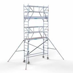 Euroscaffold Rolsteiger met dubbele voorloopleuning 75x250x6,2 meter werkhoogte