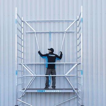 Euroscaffold Rolsteiger met dubbele voorloopleuning 75x250x7,2 meter werkhoogte