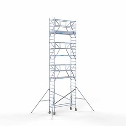 Euroscaffold Rolsteiger met dubbele voorloopleuning 75x250x9,2 meter werkhoogte