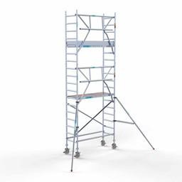 Euroscaffold Rolsteiger met enkele voorloopleuning 75x190x6,2 meter werkhoogte
