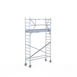 Euroscaffold Rolsteiger met enkele Voorloopleuning 75 x 250 x 5,2 meter werkhoogte