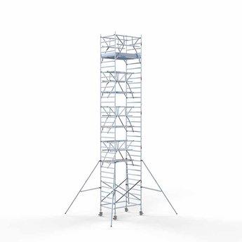 Euroscaffold Rolsteiger met dubbele voorloopleuning 135x190x11,2 meter werkhoogte