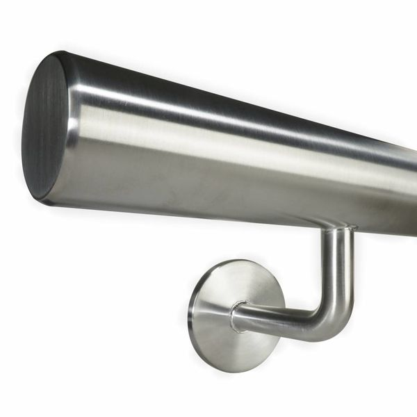 INOX trapleuning rond incl. dragers TYPE 3 - VOLLEDIG GELAST