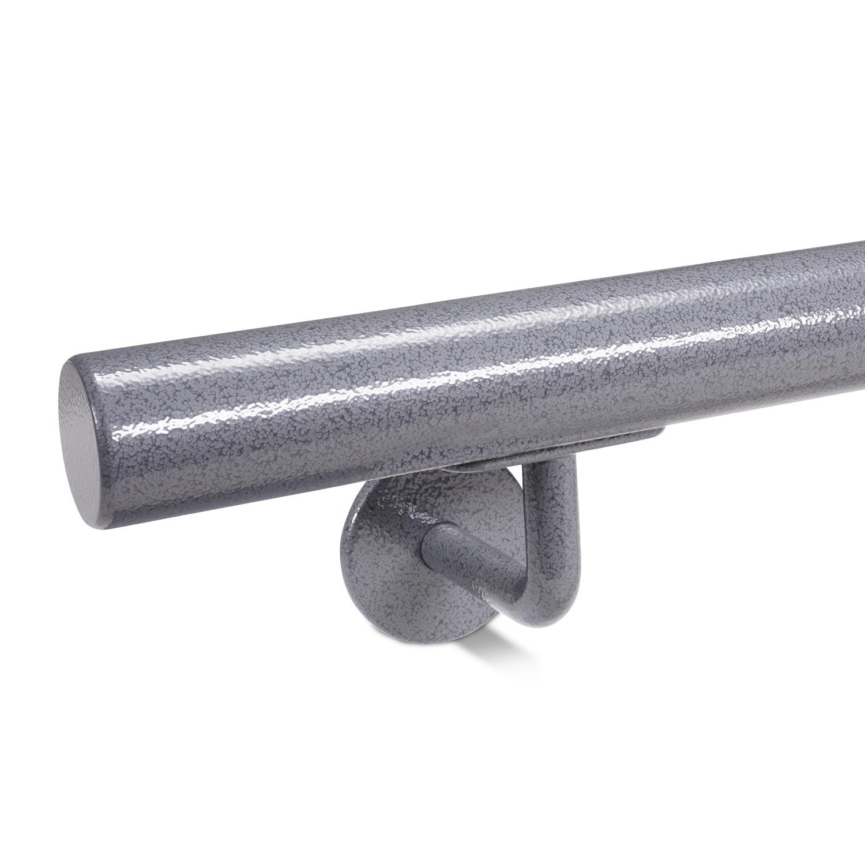 Trapleuning hamerslag gecoat rond incl. dragers TYPE 3 - grijze hamerslag look poedercoating