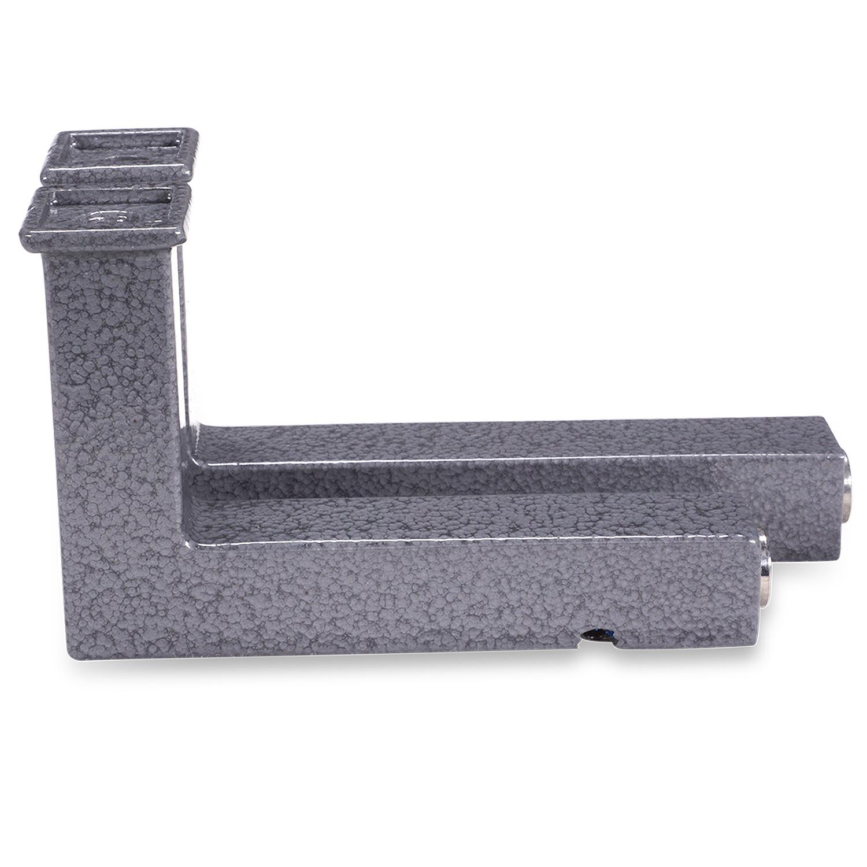 Leuninghouder hamerslag gecoat TYPE 11 vierkant -  INOX drager inclusief grijze hamerslag look poedercoating