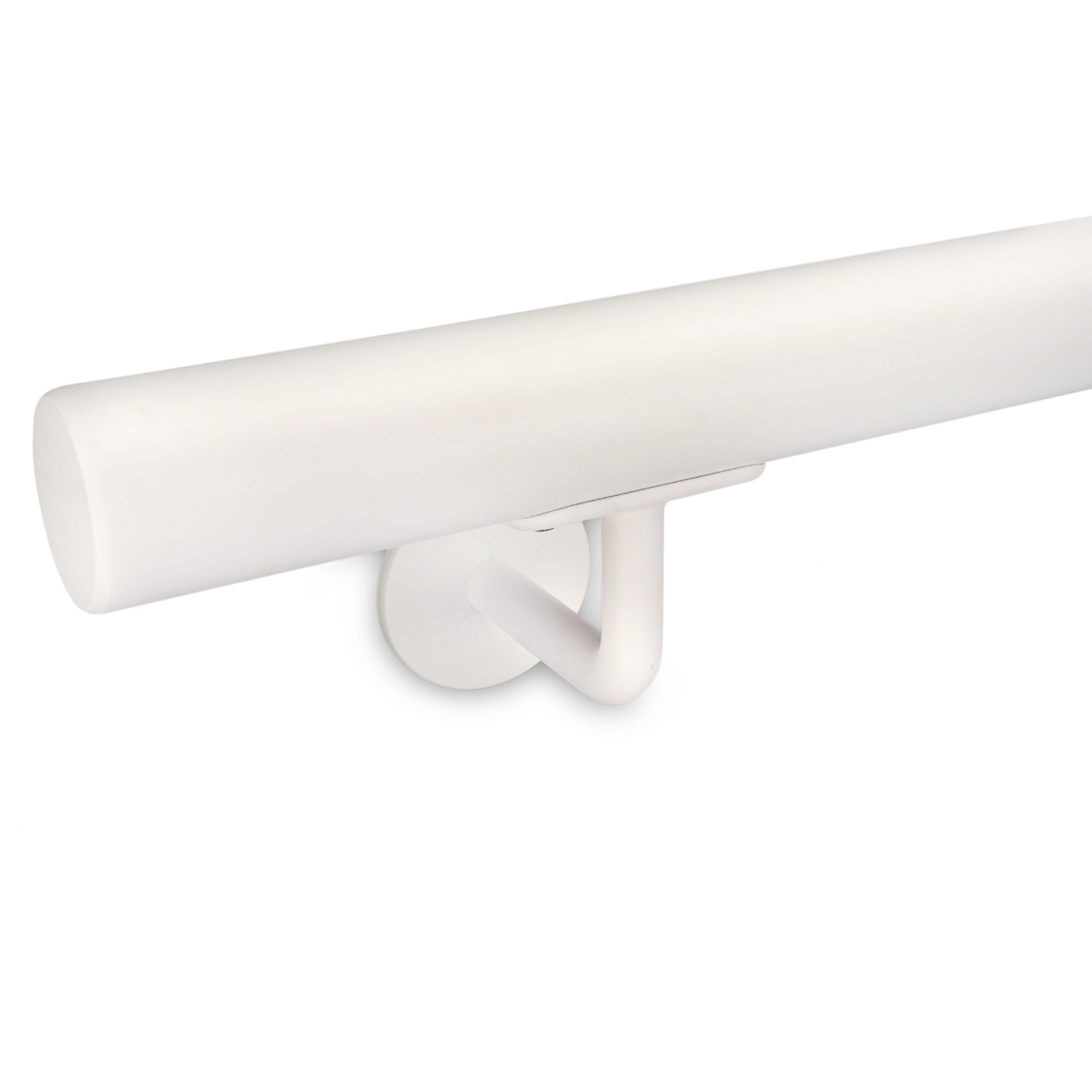 Witte trapleuning gecoat rond incl. dragers TYPE 3 - fijnstructuur poedercoating RAL 9010 mat wit