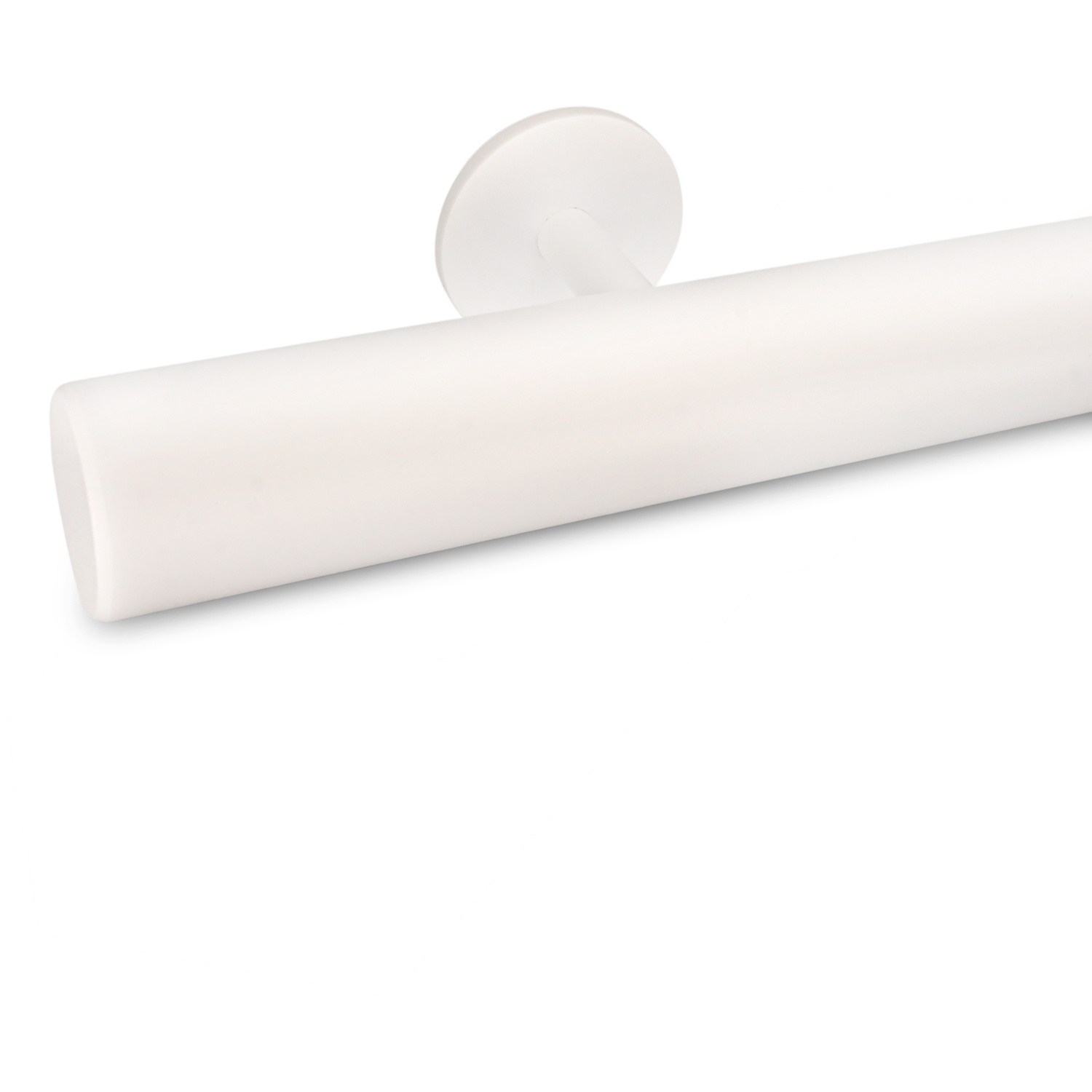 Witte trapleuning gecoat rond incl. dragers TYPE 5 - fijnstructuur poedercoating RAL 9010 mat wit