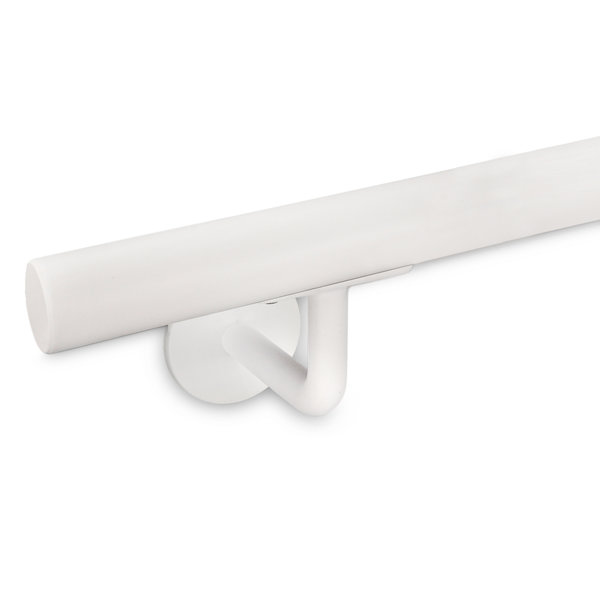 Witte trapleuning gecoat rond smal incl. dragers TYPE 3