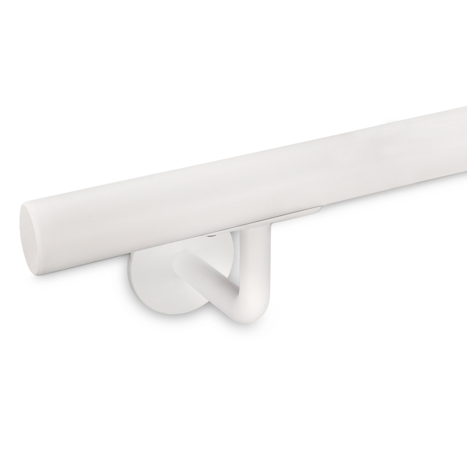 Witte trapleuning gecoat rond smal incl. dragers TYPE 3 -fijnstructuur poedercoating RAL 9010 mat wit