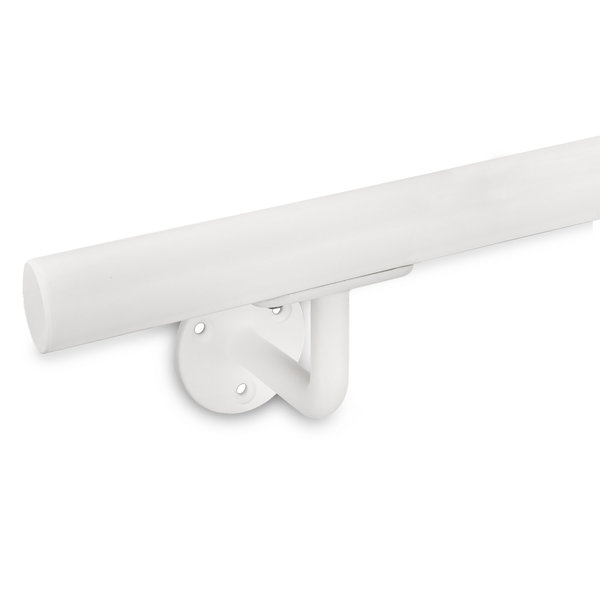 Witte trapleuning gecoat rond smal incl. dragers TYPE 1