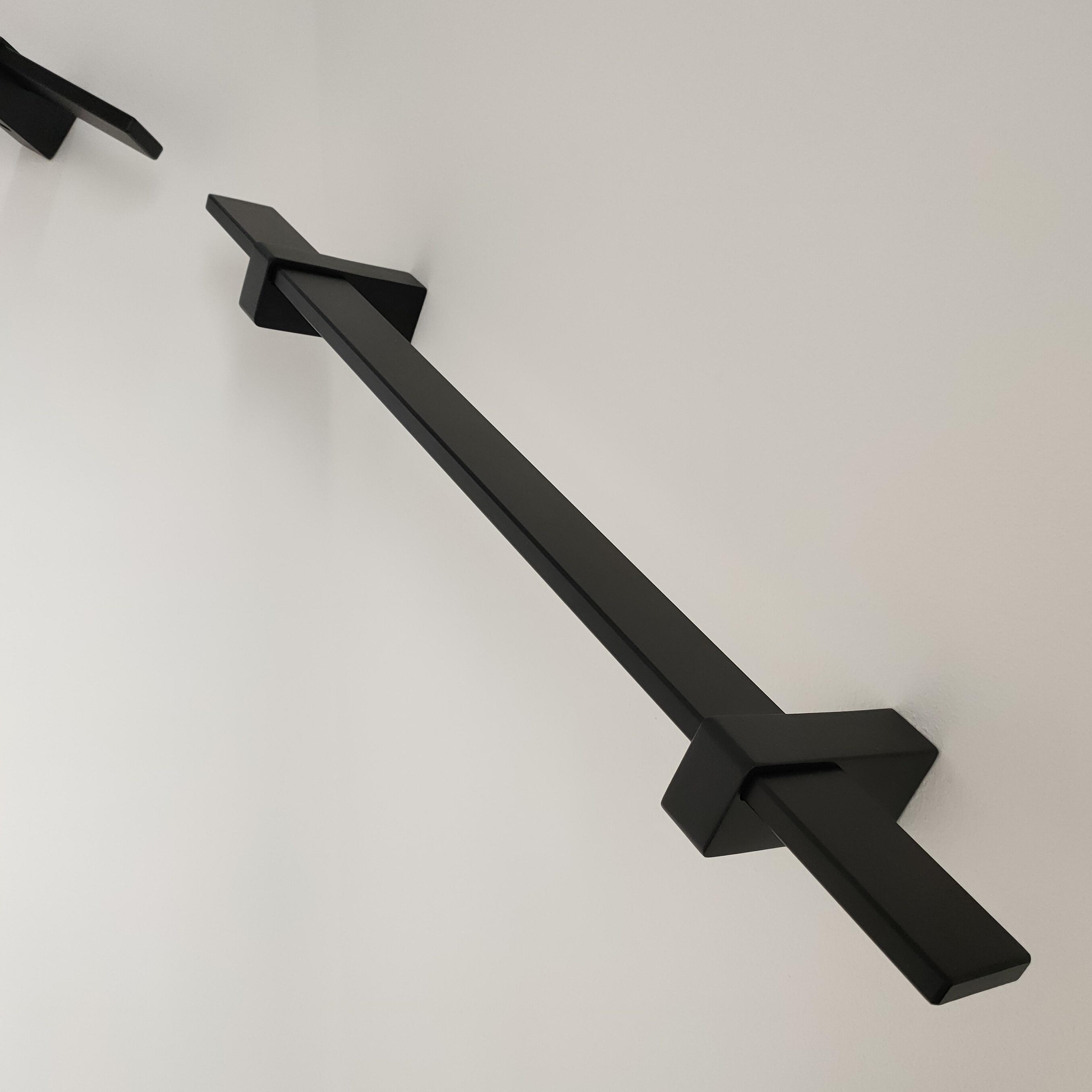 Zwarte trapleuning gecoat vierkant 40*10 incl. dragers TYPE 13 SCHUIF - poedercoating RAL 9005 mat zwart