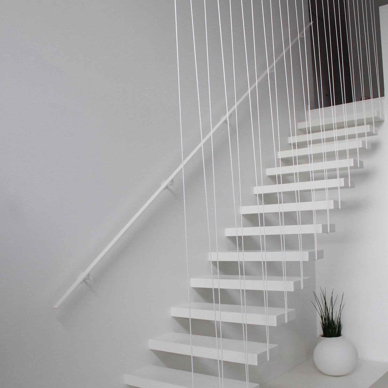 Witte trapleuning gecoat vierkant 40*10 incl. drager TYPE 11 - fijnstructuur poedercoating mat wit