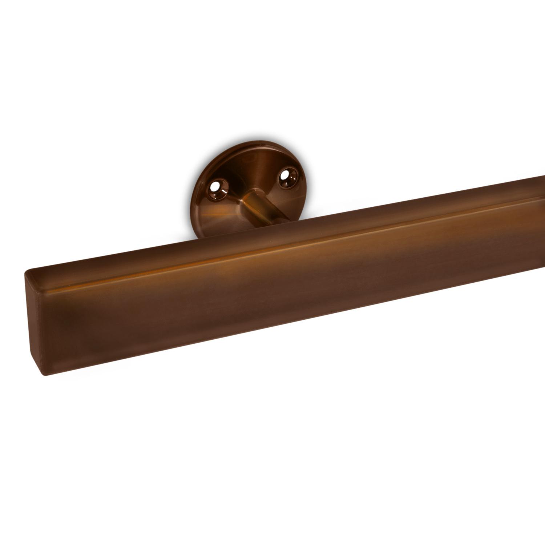 Brons look trapleuning gecoat vierkant 40*10 incl. drager TYPE 4  - brons - goud - messing poedercoating