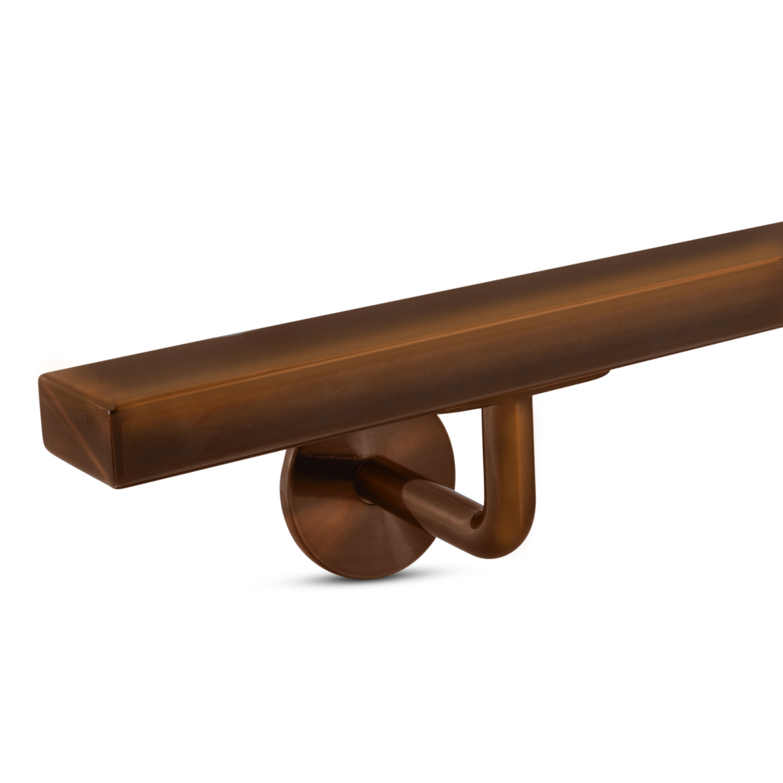 Brons look trapleuning gecoat vierkant 40*20 incl. dragers TYPE 3 - brons - goud - messing poedercoating
