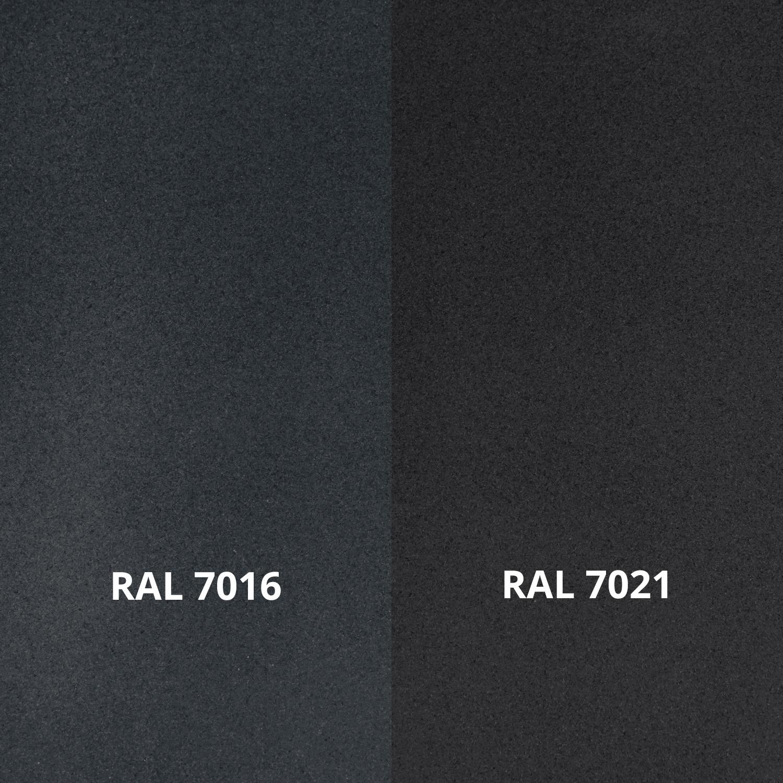 Antraciet trapleuning - voor buiten - fijnstructuur gecoat vierkant 40*20  incl. dragers TYPE 11 - incl. dubbele donkergrijze poedercoating