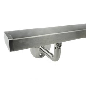 INOX trapleuning vierkant 40*20 incl. dragers TYPE 1 - VARIABEL