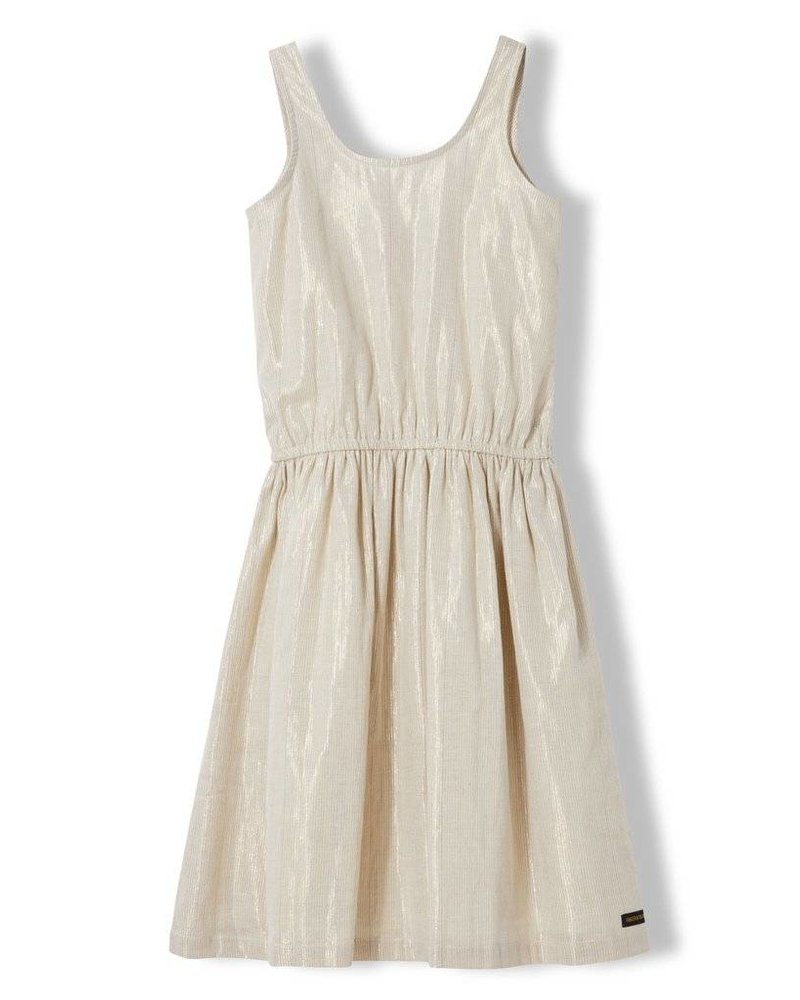 Finger in the nose Dress gold metal stripe