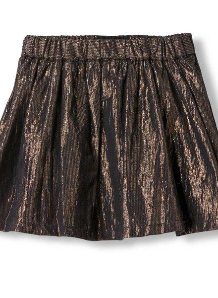 Finger in the nose Annix bronze metal stripes woven mini skirt