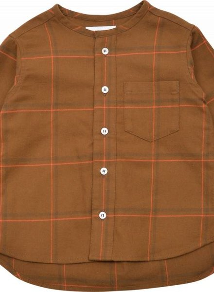 East End Highlanders Collarless Shirt Brown / Orange plaid